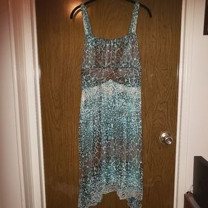 Dress Barn Teal Green Animal Print Chiffon Dress